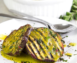 GRILLED EGGPLANTS MARINATED WITH SALMORIGLIO (lemon and olive oil sauce)
