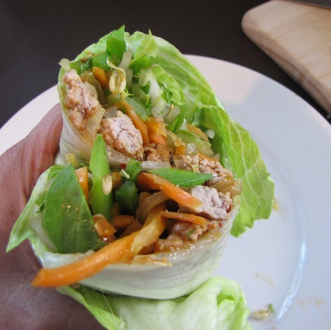 Pork Lettuce wraps with spicy peanut sauce