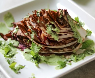 Roasted Radicchio Wedge Salad with Green Goddess Dressing