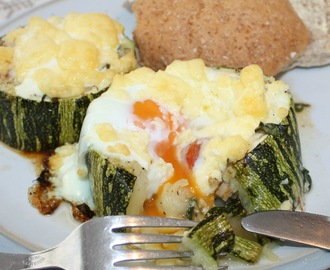 Eggs Baked in Marrow with Spinach, Cheese & Tomato