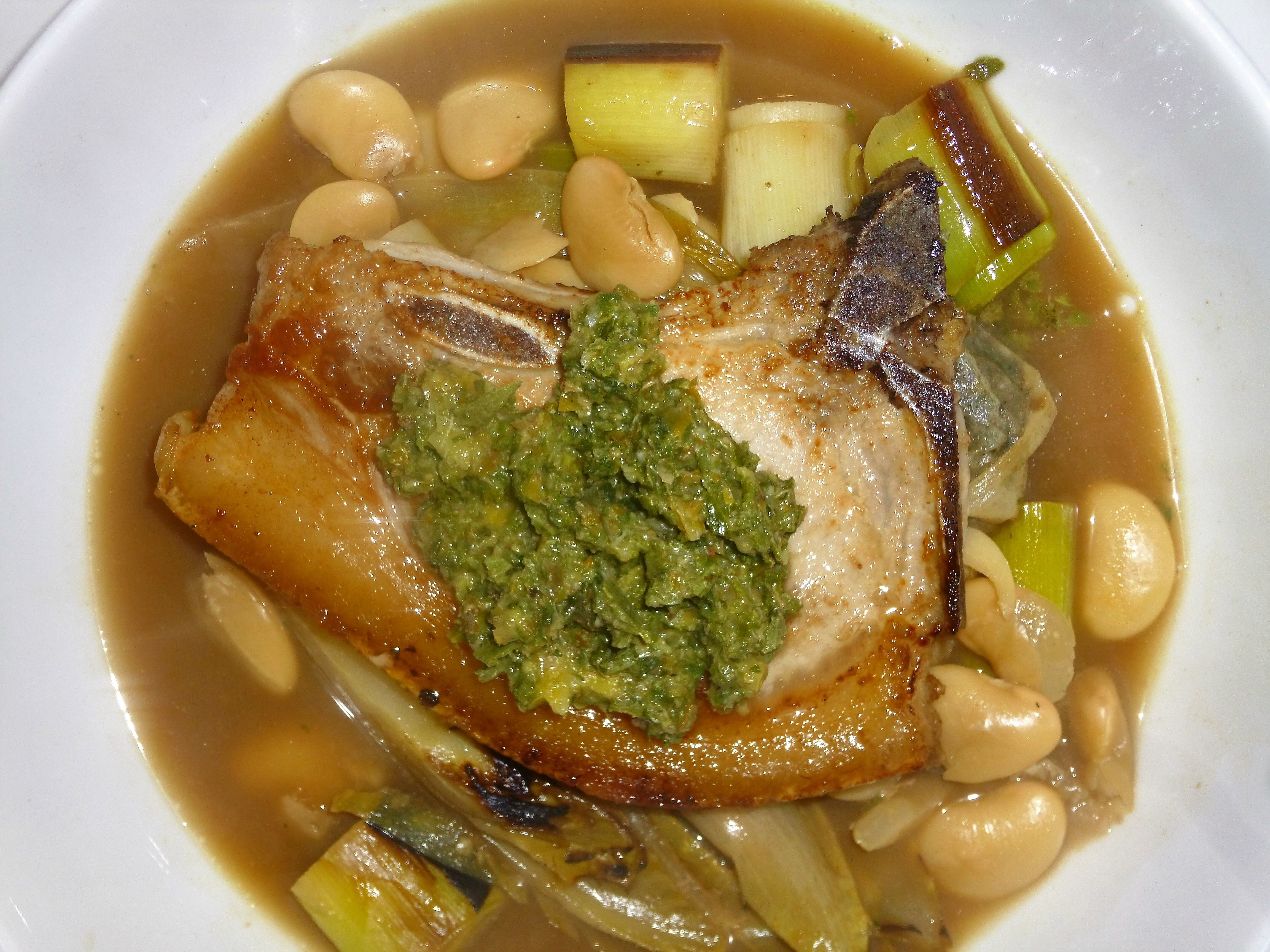 Pork Chops on a Butter Bean, Leek and Endive Stew with Salsa Verde Recipe