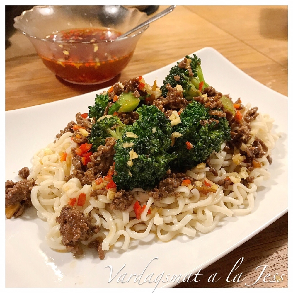 Asiatisk biff- och broccoliwok