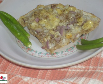 Simple Roti With Onion Cheese Topping:Breakfast Recipes