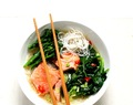 Miso salmon and spinach broth