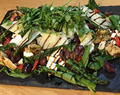 Asparagus, Artichoke and Roast Pepper Salad with Feta, Olives and Parmesan