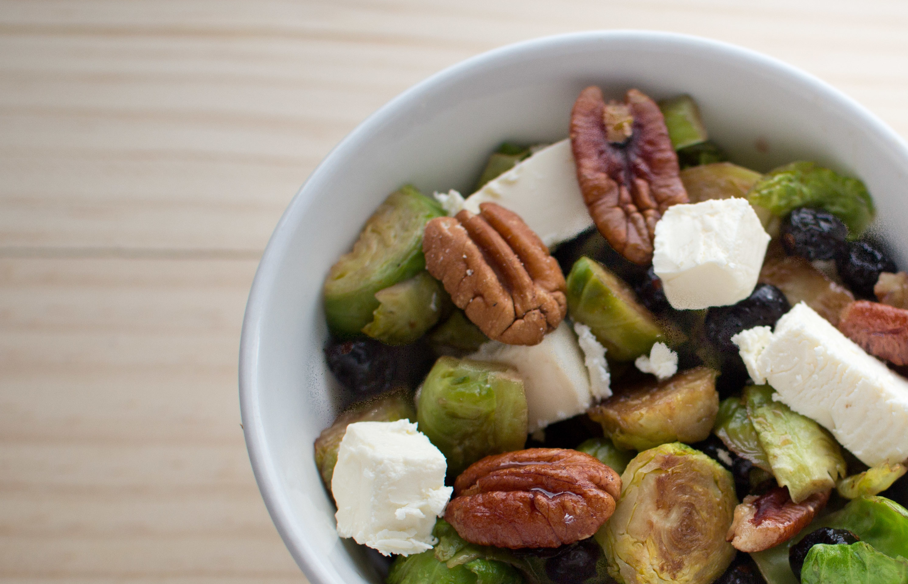 Pan seared Brussels Sprouts with Pecans and Cranberries