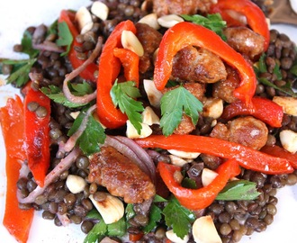 Chorizo and lentil salad, now that is lunch......
