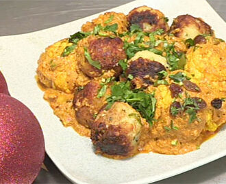 Whole roast masala cauliflower with cashew and coconut stuffing recipe