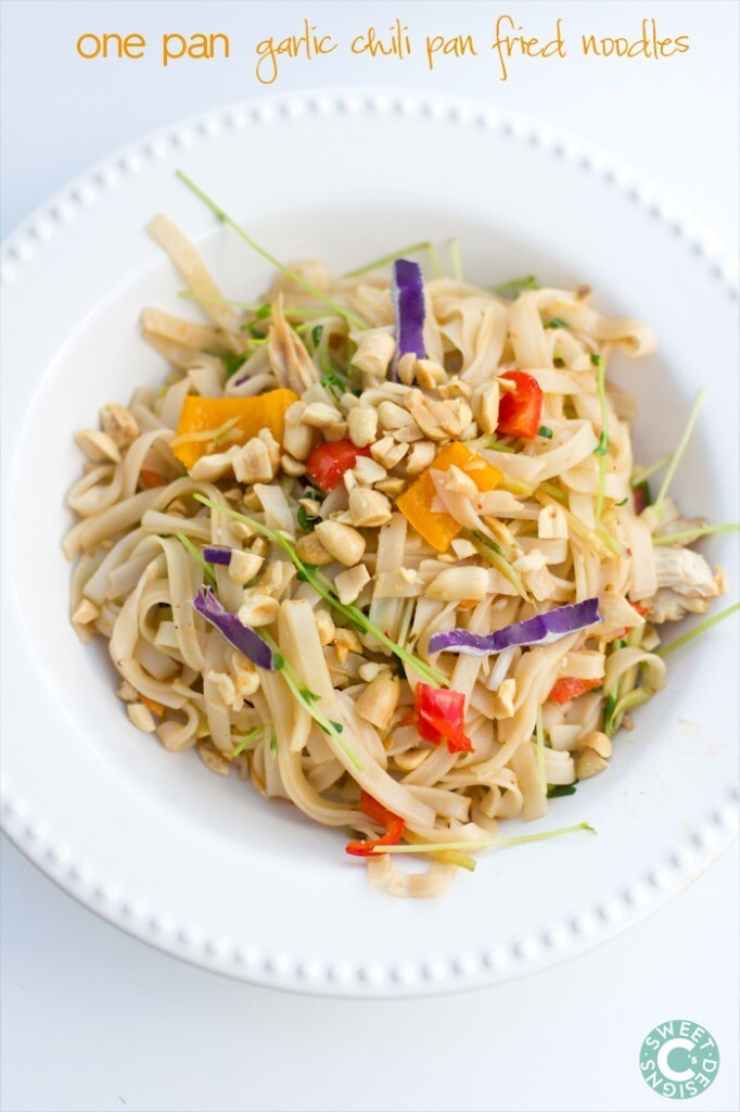 One Pan Garlic Chili Pan Fried Noodles