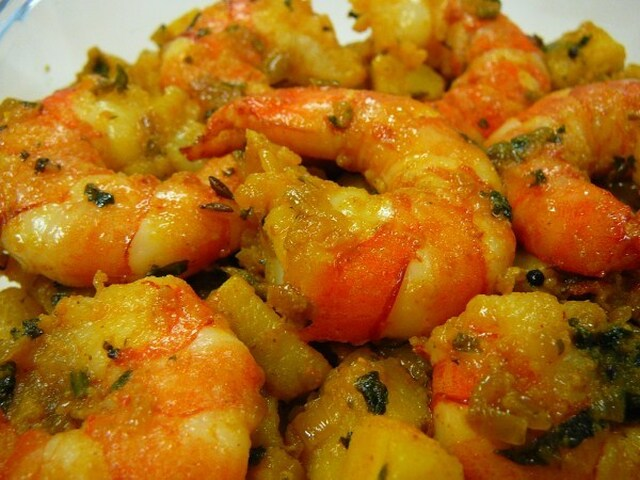 Crevettes sautés aux graines de cumin et de moutarde – Stir fried shrimp with cumin and mustard seeds