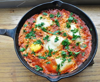 Shakshuka… eggs poached in a spicy tomato sauce