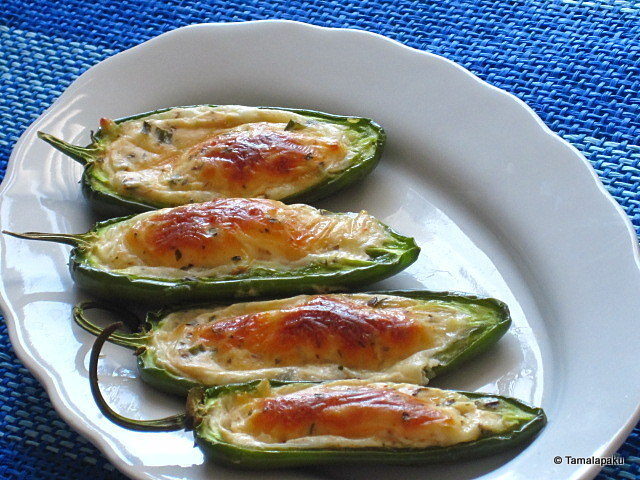 Baked Jalapeno Peppers with Cheese Filling
