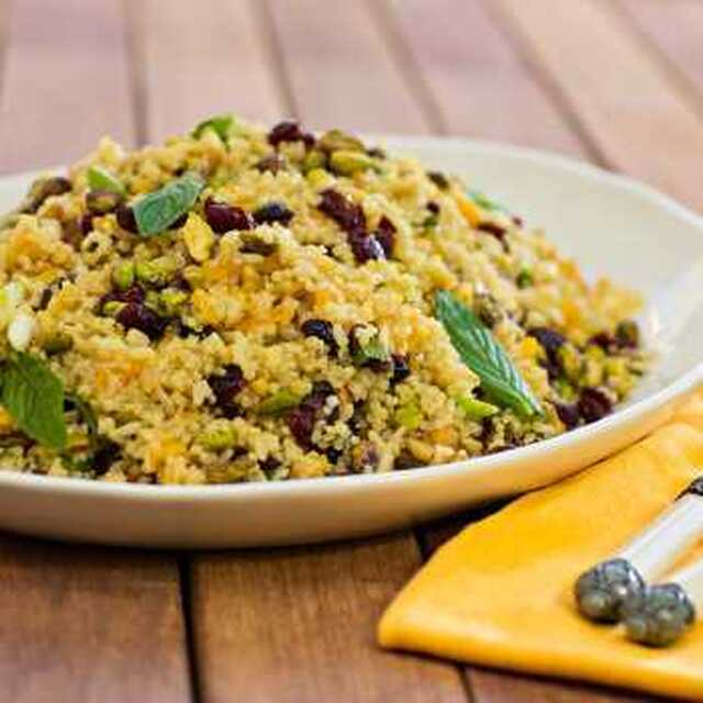 Red Rice and Quinoa Salad with Pistachios and Mint