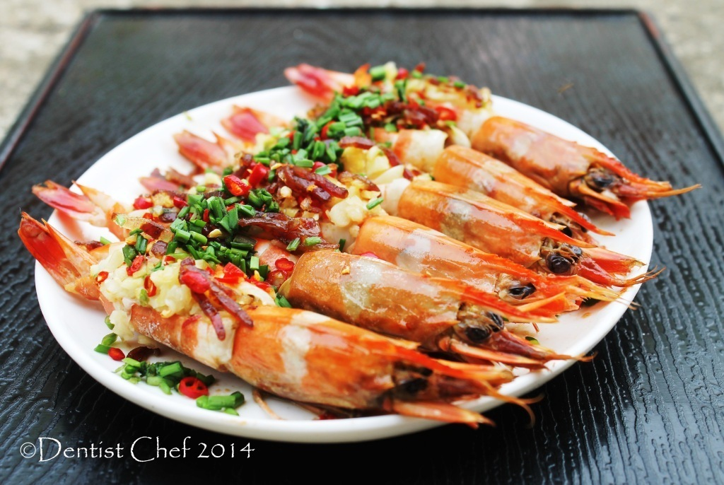 Recipe Steamed Prawn with Spicy XO Sauce (Chili, Garlic, Ginger and Chives)