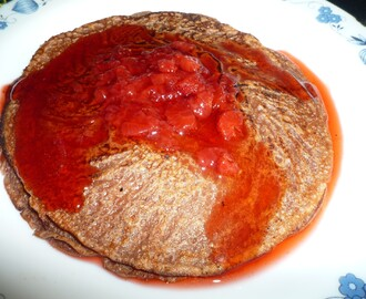 Chocolate Pancakes with Homemade Strawberry Syrup