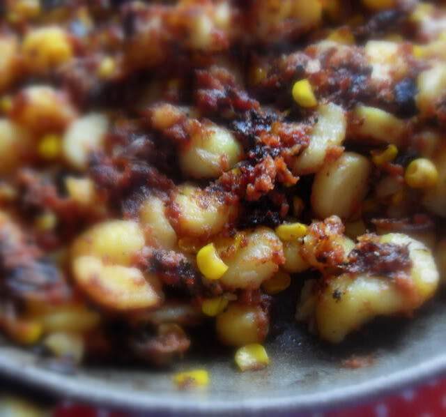 Corned Beef, Sweetcorn and Red Onion Hash