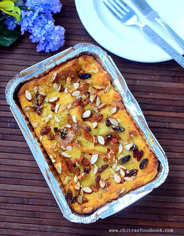 Eggless Bread Pudding Recipe – Custard Bread Pudding –Indian style