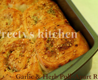 Eggless Garlic & Herb Pull-Apart Rolls Recipe (Step by Step Pictures)