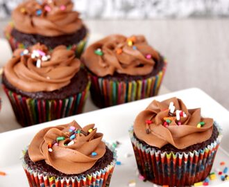 C for Chocolate Cupcakes with Chocolate Buttercream Frosting