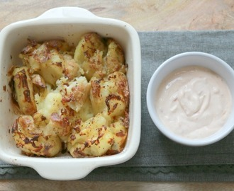Crispy Smashed Potatoes with Sour Cream, Sweet Chilli & Lime Dressing