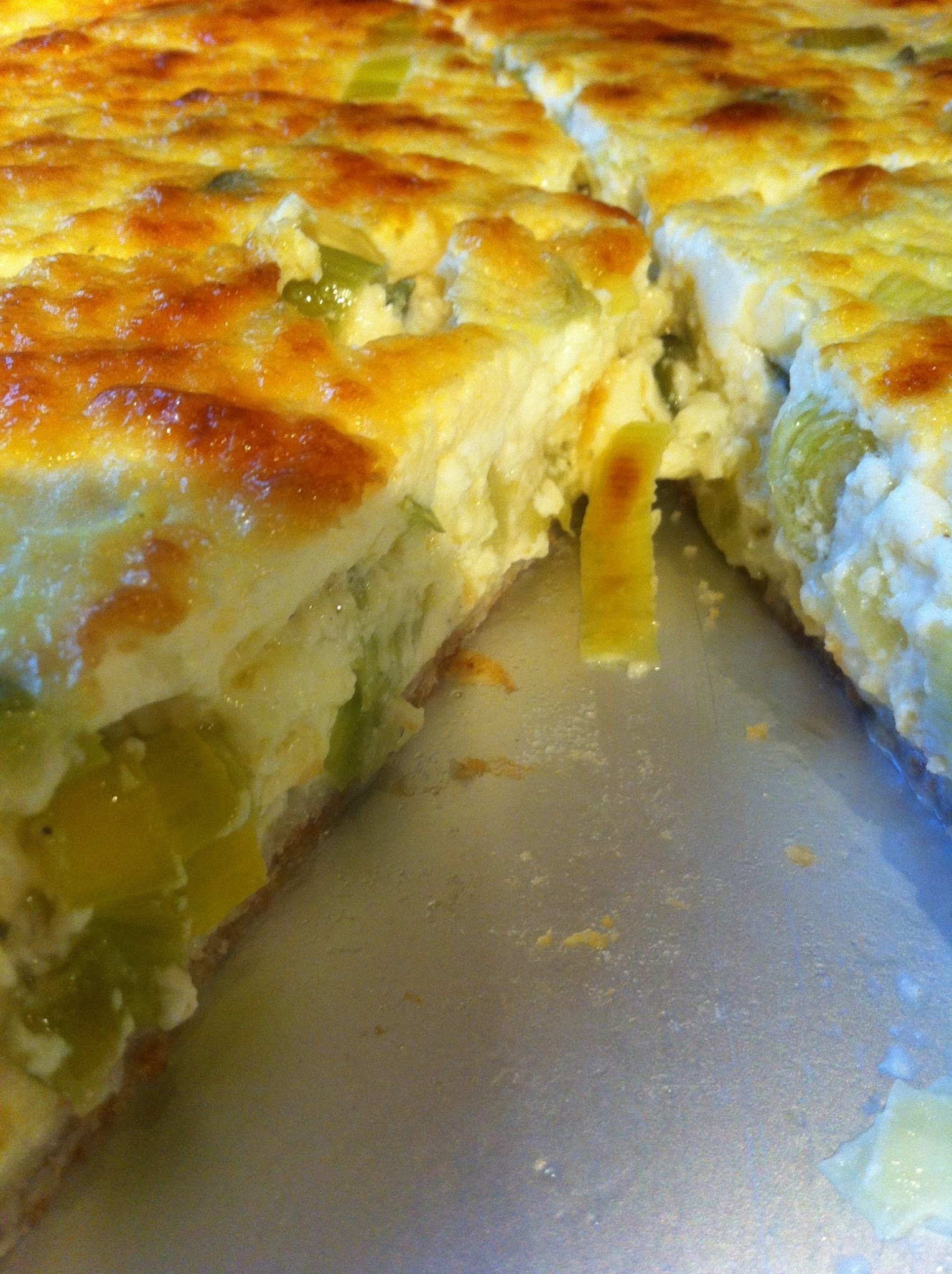 Welsh leek and cheese quiche