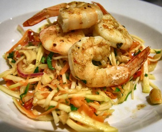 Green Mango Salad with BBQ prawns