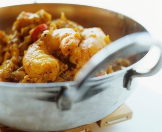 Scampi met gele curry