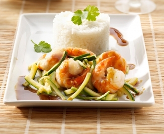 Scampi's met courgette