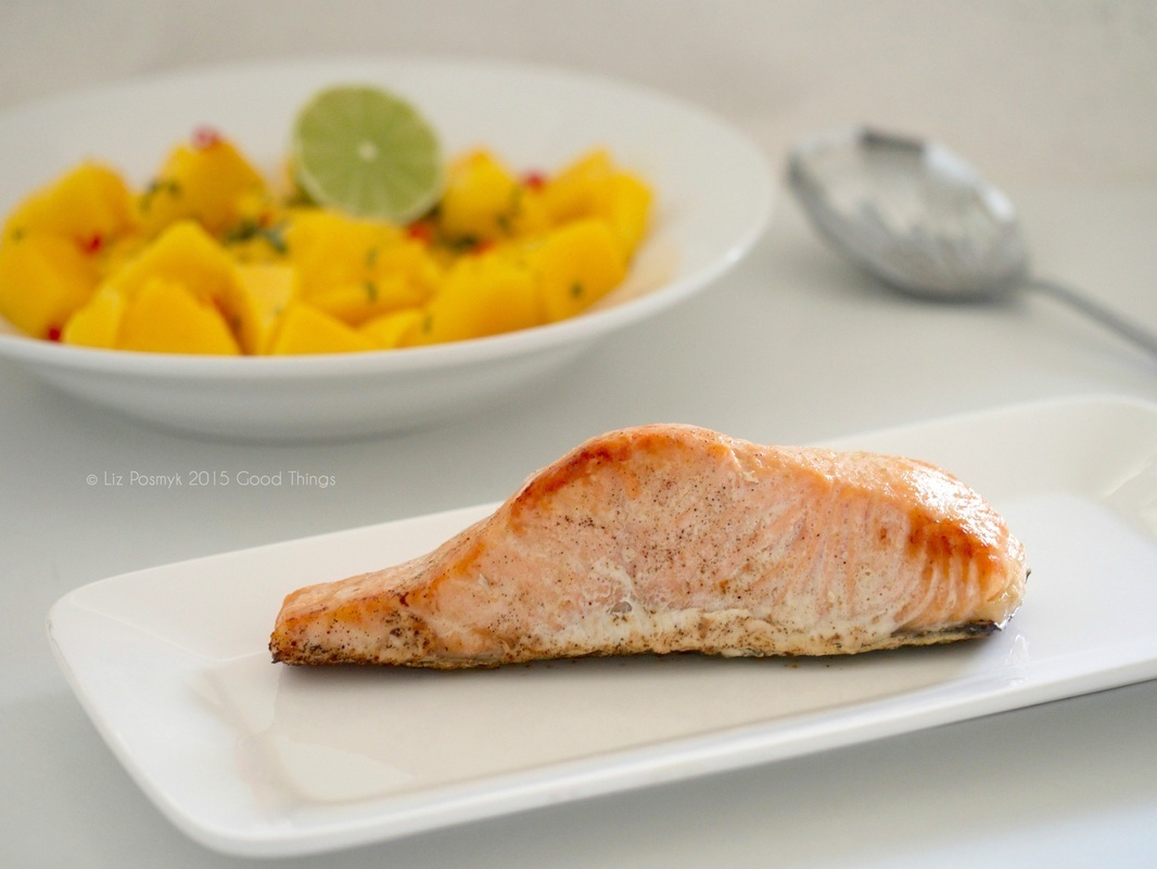 Lime and chilli baked salmon with a mango salsa - summer feasts
