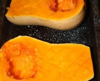 Roast stuffed butternut squash and healthy chips