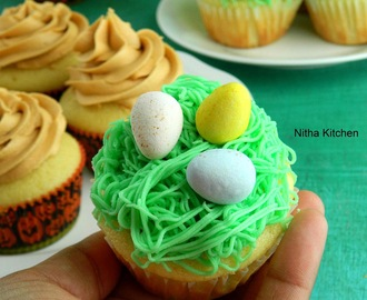 Easter Basket Cupcakes | Vanilla Yogurt Cupcakes with Chocolate Butter Cream Frosting From Scratch