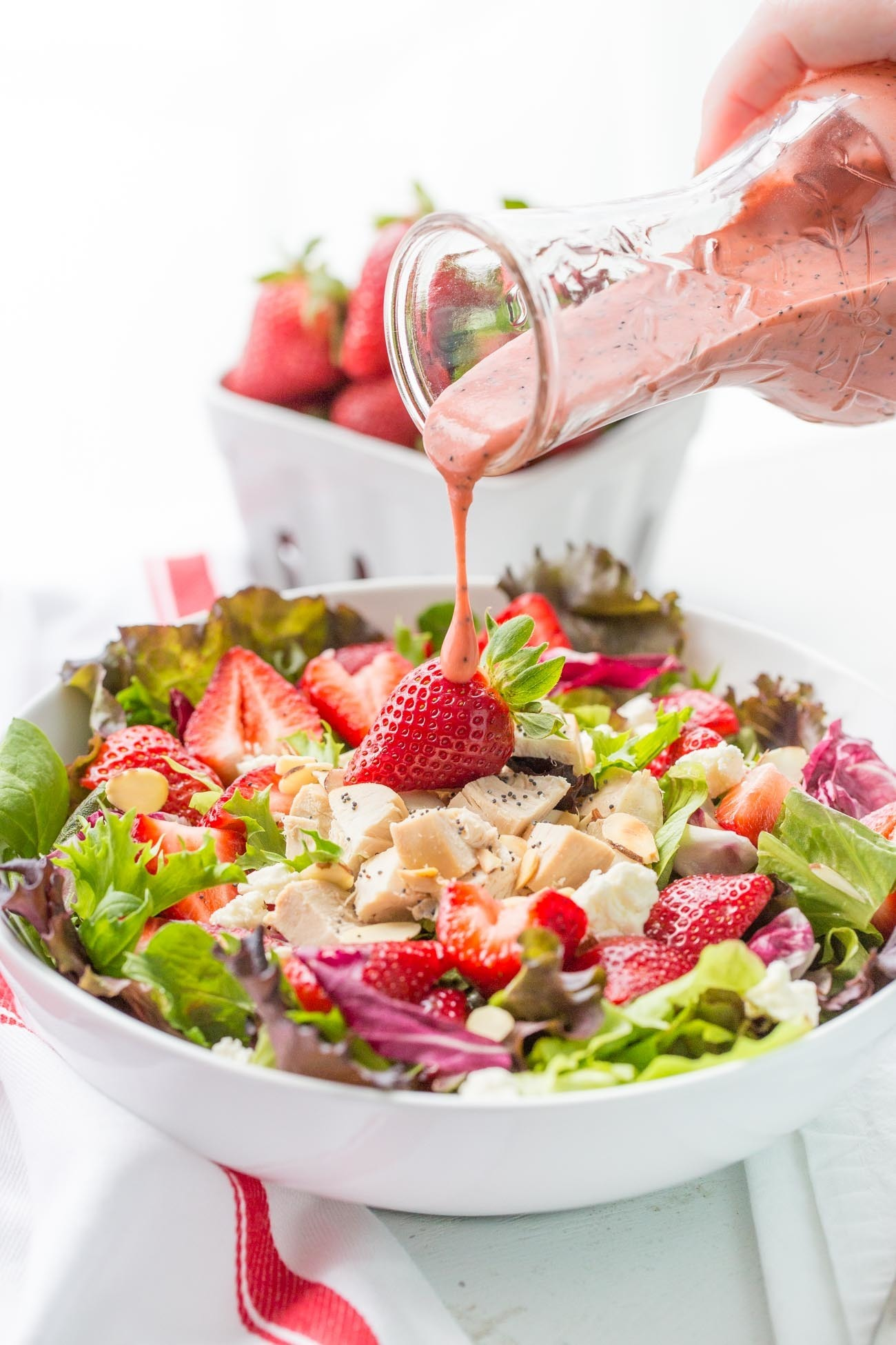 Strawberry Salad with Chicken and Poppy Seed Dressing