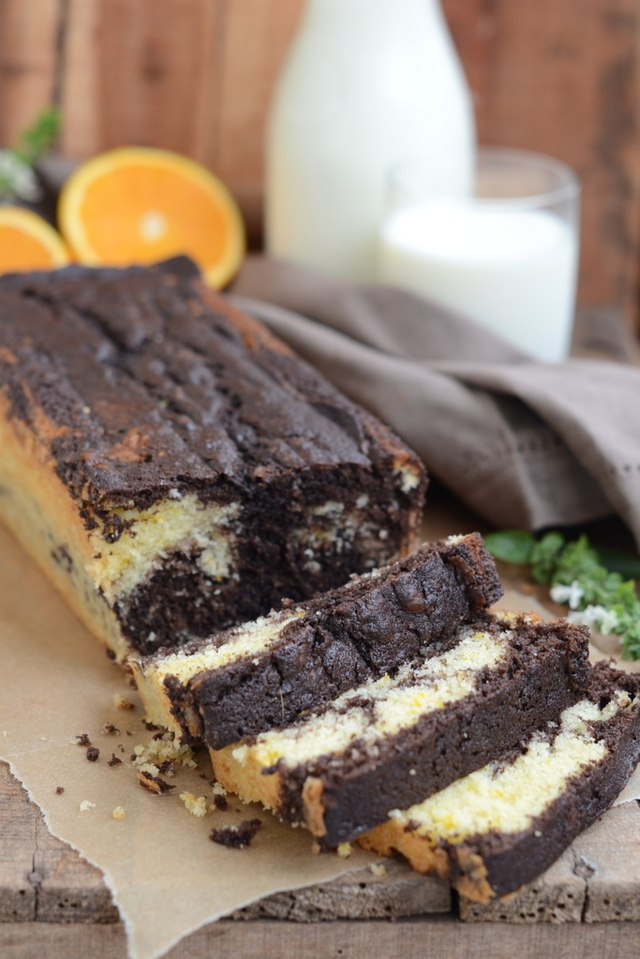 Chocolate and Orange Marble Loaf Cake