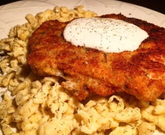 Pork Schnitzel with Dill Sauce and Simple Spaetzle