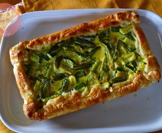 Quiche con formaggio, prosciutto, zucchine e fagiolini – Quiche with cheese, ham, courgettes and green beans