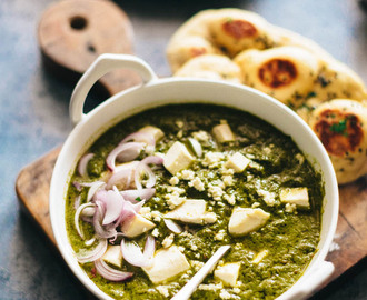 Palak Paneer Recipe (Spinach Curry with Cheese) & Cooking in an Indian Kitchen