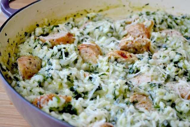 Parmesan Risotto with Spinach and Chicken Sausage