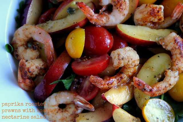 Paprika Roasted Prawns with Tomato Nectarine Salad - Salad Days # 2