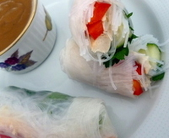 Asian style SPRING rolls with Peanut butter sauce Recipe