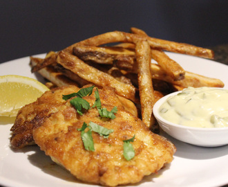 Healthier Fish and Chips with homemade tartar sauce