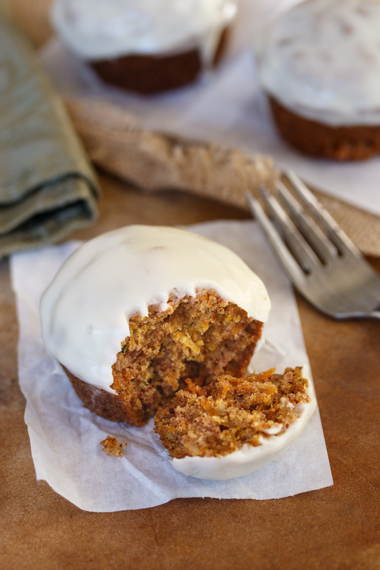 Zucchini Carrot Muffins with Cream Cheese Glaze