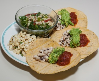 Corn Tortillas with Black-Eyed Peas and Guacamole, Fregola Sarda (Sardinian Couscous) Soup with Kale, Corn-off-the-Cob with fresh Basil Chiffonade