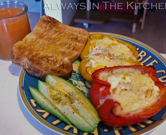 Breakfast: Eggs baked in Bell Peppers