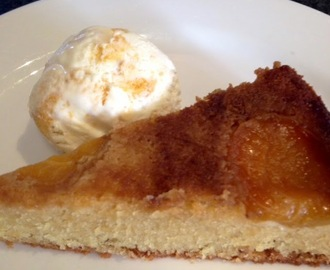 Apricot Upside Down Cake with Apricot Ripple Icecream