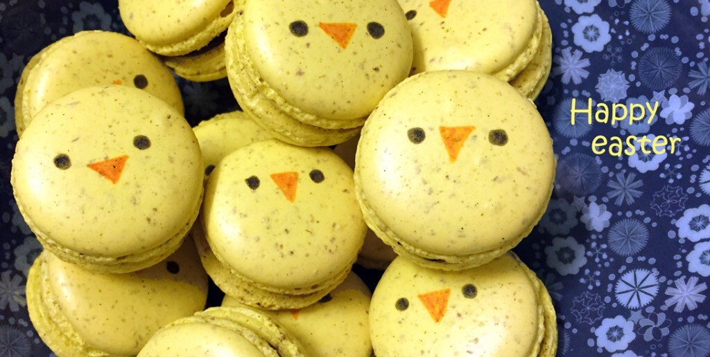 Easter macarons with chocolate and orange