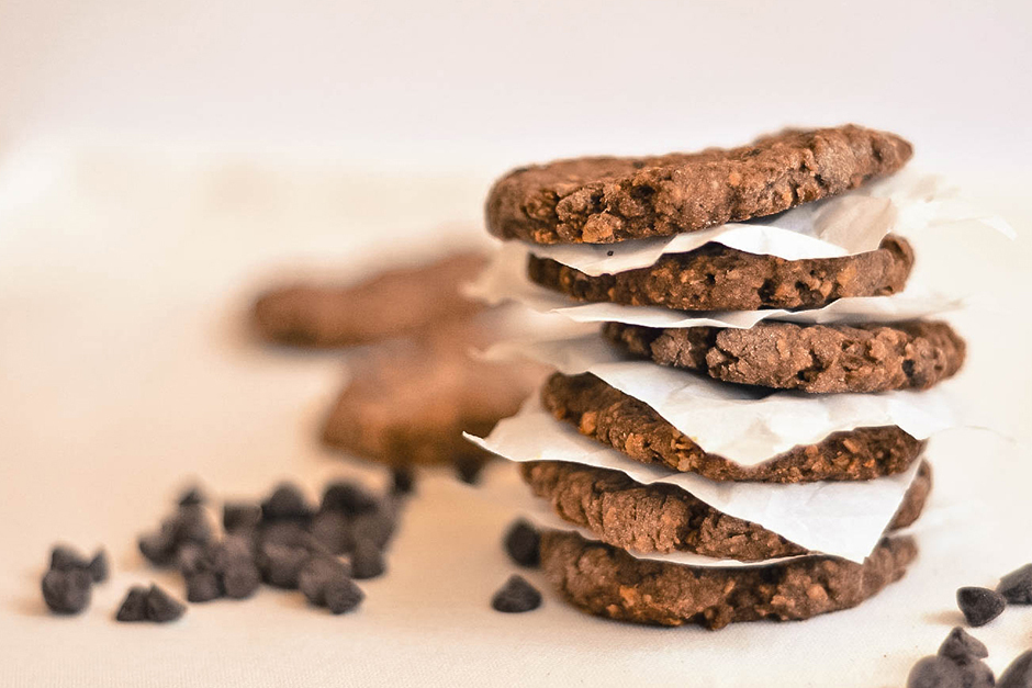 Cookies de avena, cacao y chocolate
