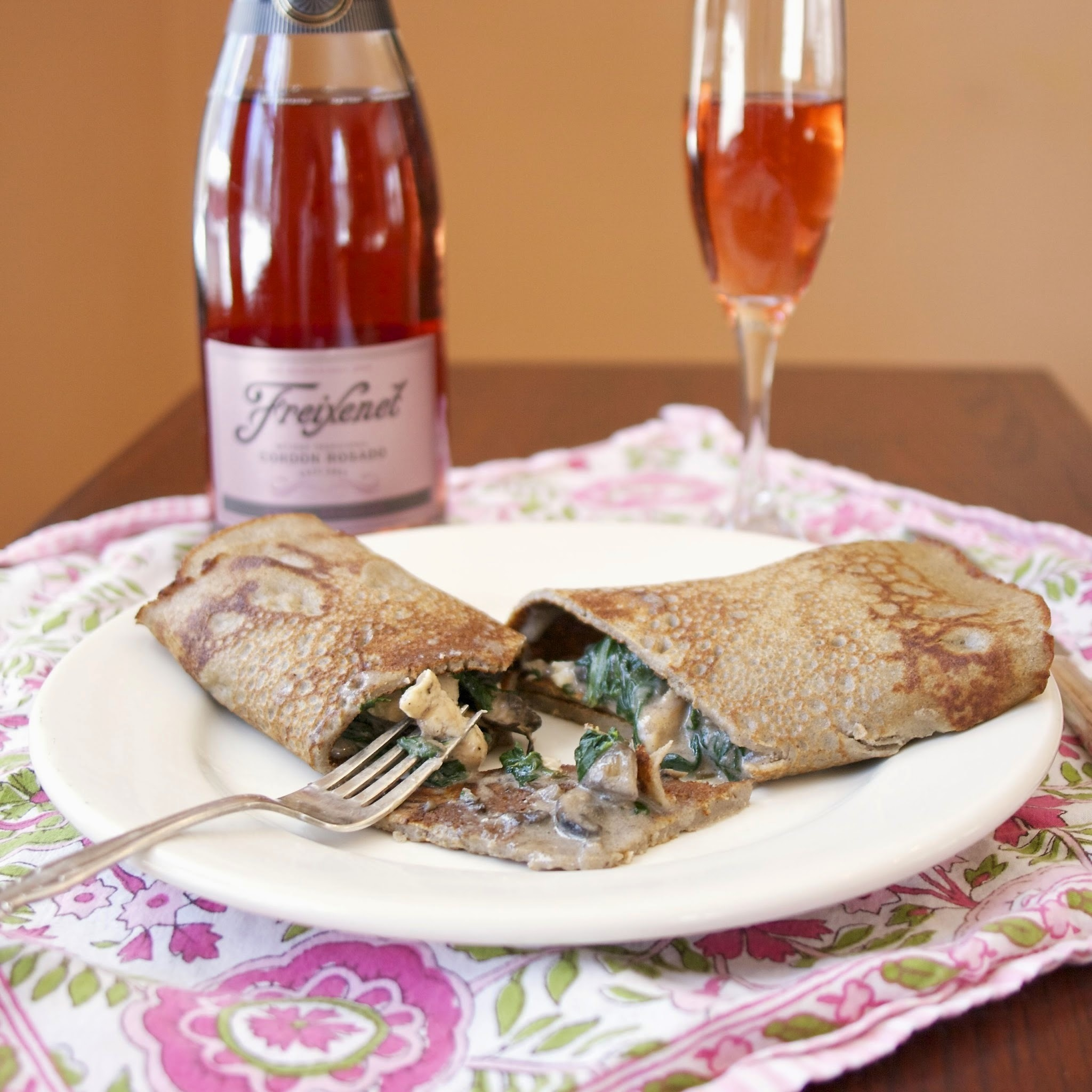 Chicken Normandy Crêpe with Spinach & Mushrooms  #Crêpe Day #Romantic Meals #Weekly Menu Plan