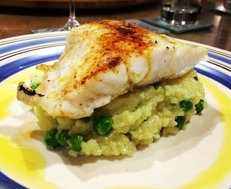 Orange Roughy on a bed of pea and asparagus risotto ... in the Thermomix