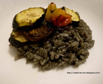 Squid Ink Risotto with Roast Vegetables. Caution: Not for the faint-hearted!