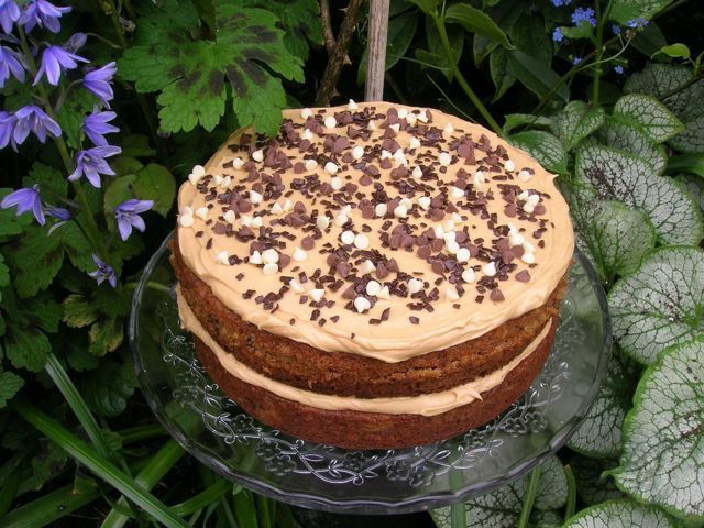 Caramelised Banana, Coconut, Chocolate & Peanut Butter Cake